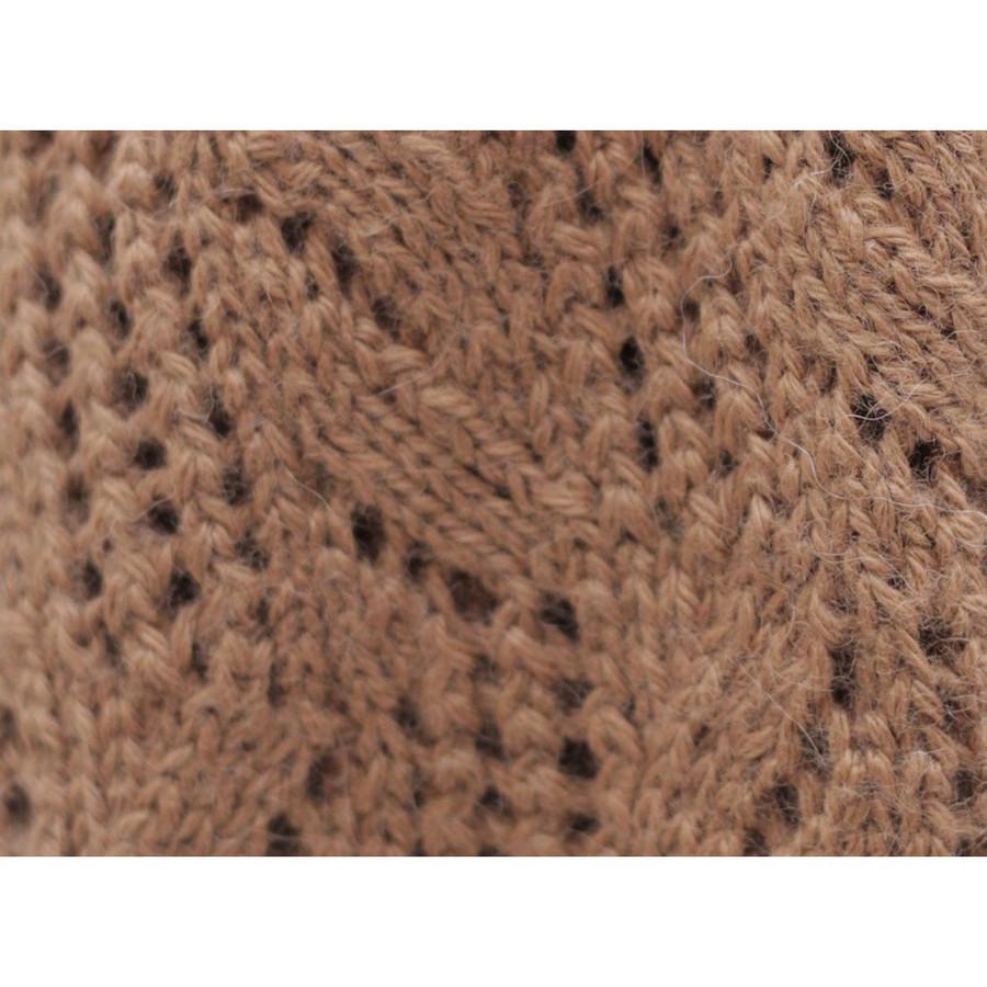 Superfine Hand Knitted Alpaca Wool Beanie Hat & Chunky Scarf Camel (33B-012-205)