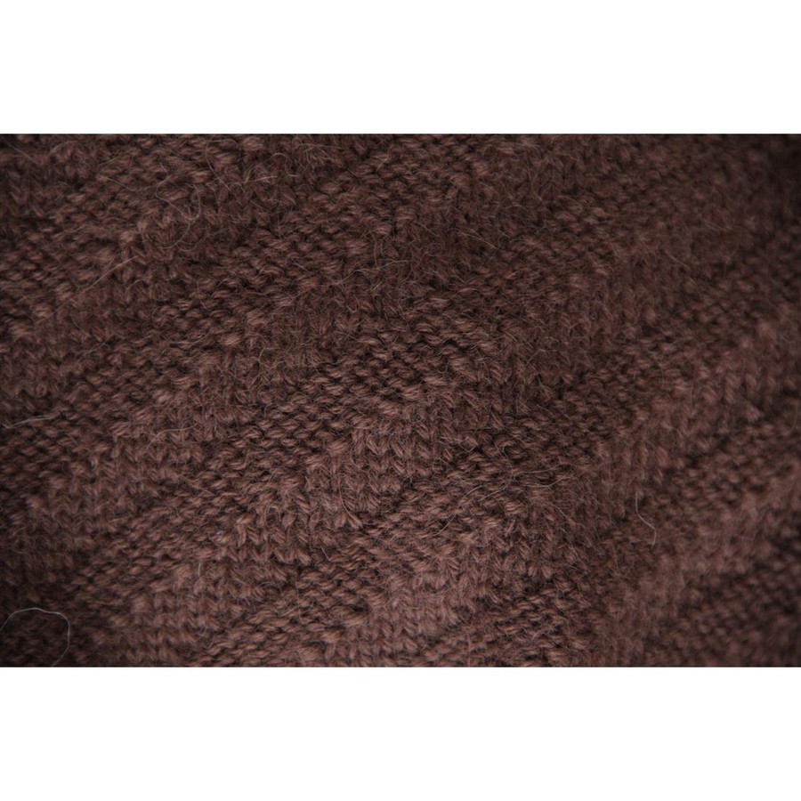 Superfine Hand Knitted Alpaca Wool Beret & Scarf Brown (33D-014-890)