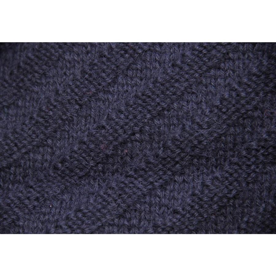 Superfine Hand Knitted Alpaca Wool Beret & Scarf Navy Blue (33D-019-838)