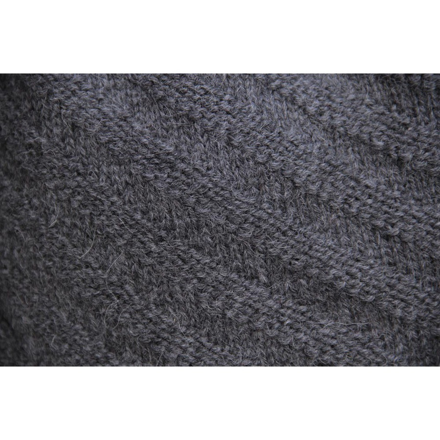 Superfine Hand Knitted Alpaca Wool Beret & Scarf Charcoal Gray (33D-040-407)
