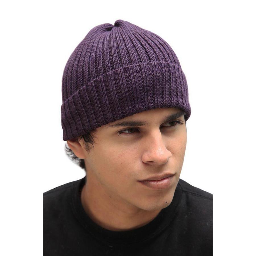 Superfine Alpaca Wool Knitted Beanie Hat Purple One Size (65A-017-642)