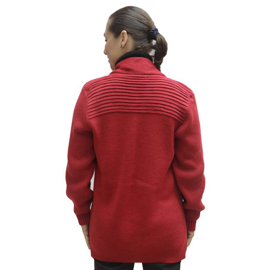 Women's Alpaca Wool Coat Sz M Red (11H-035-842M)