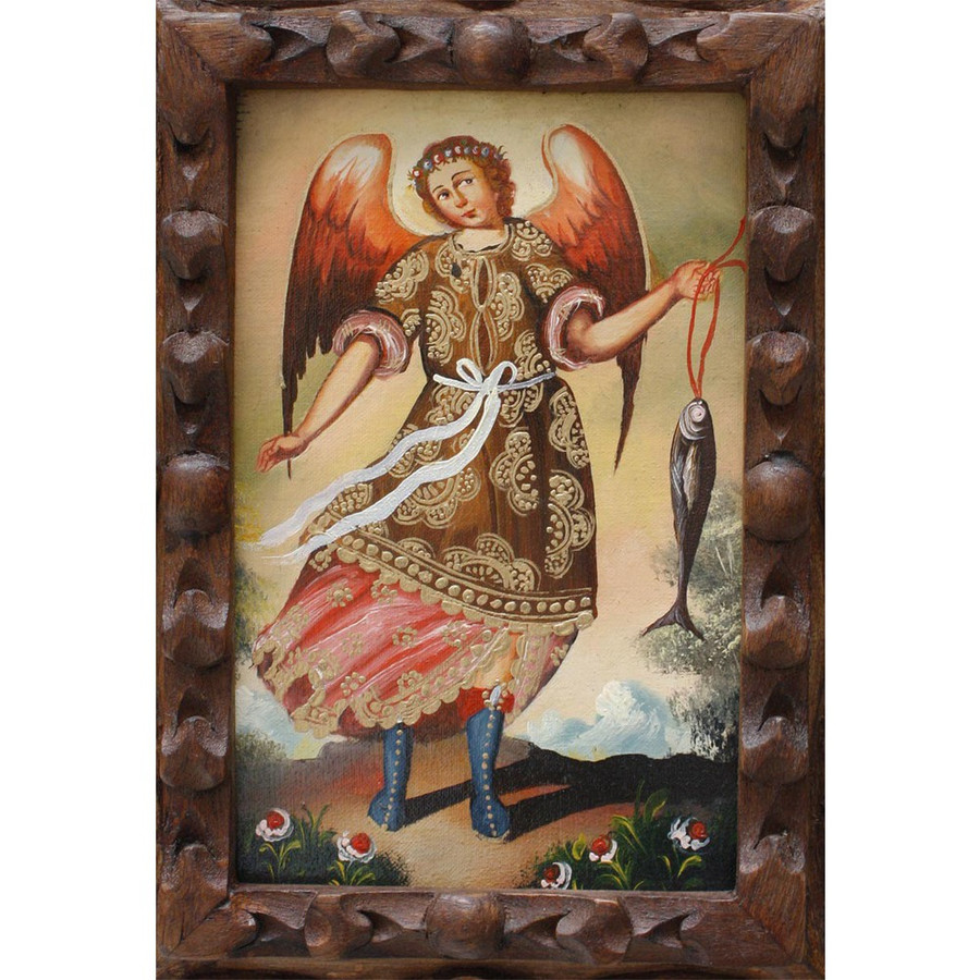 "Archangel Raphael Original Art Framed Oil Painting 10""x 8"" (86-014-02224)"