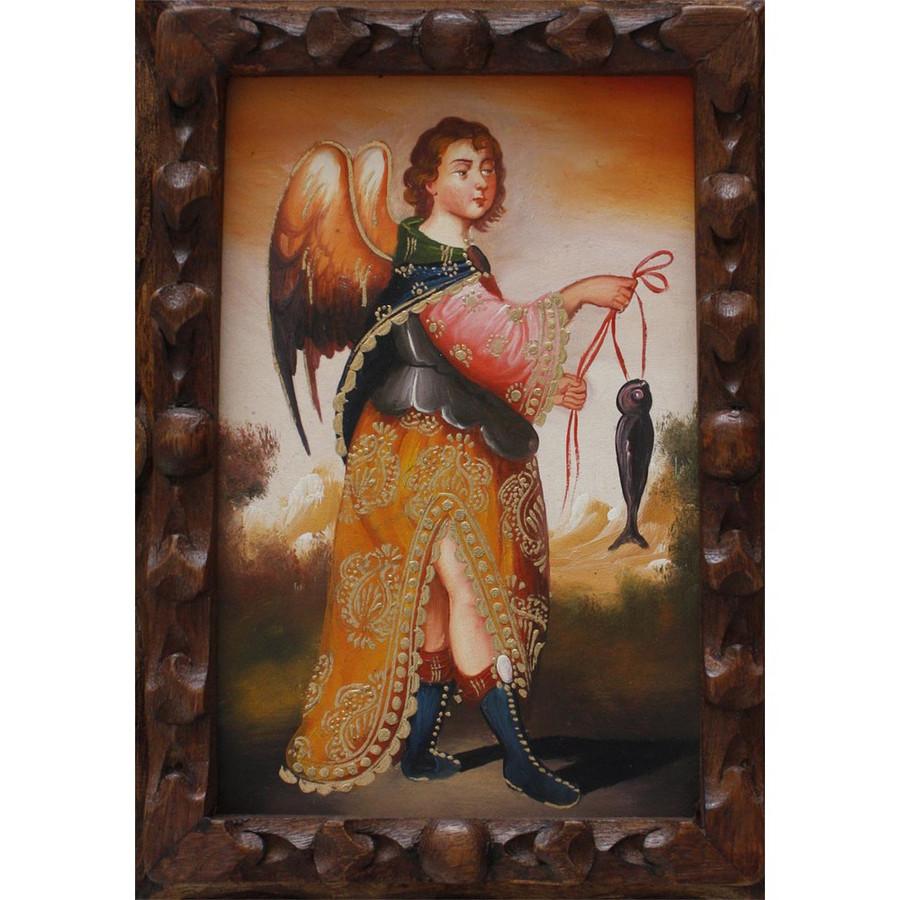 "Archangel Raphael Original Art Framed Oil Painting 10""x 8"" (86-014-02241)"