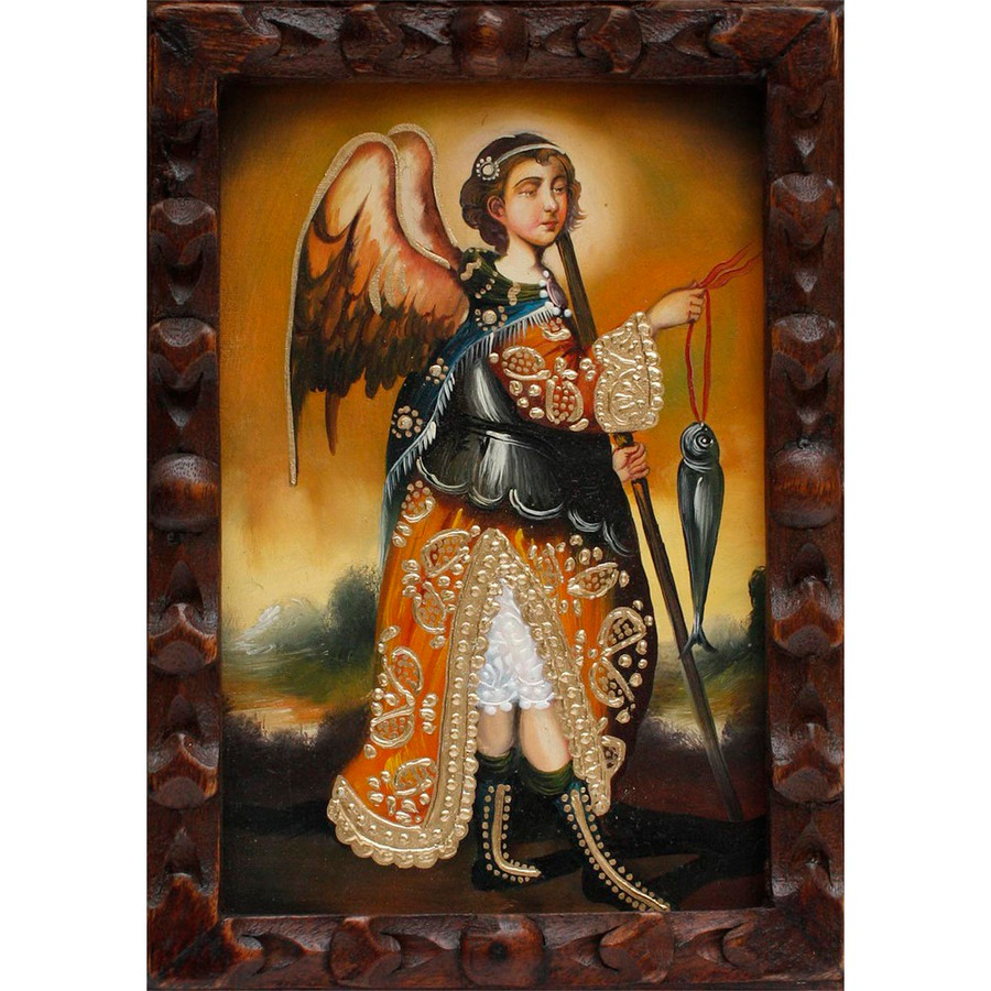 "Archangel Raphael Original Art Framed Oil Painting 10""x 8"" (86-014-02263)"