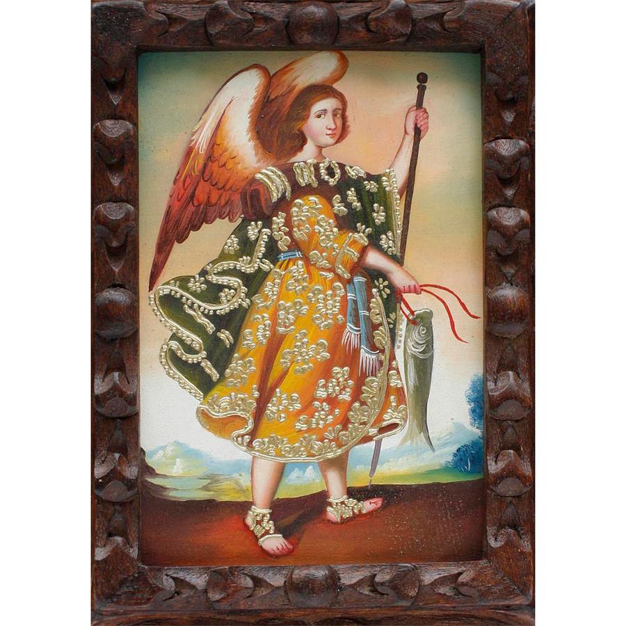 "Archangel Raphael Original Art Framed Oil Painting 10""x 8"" (86-014-02268)"