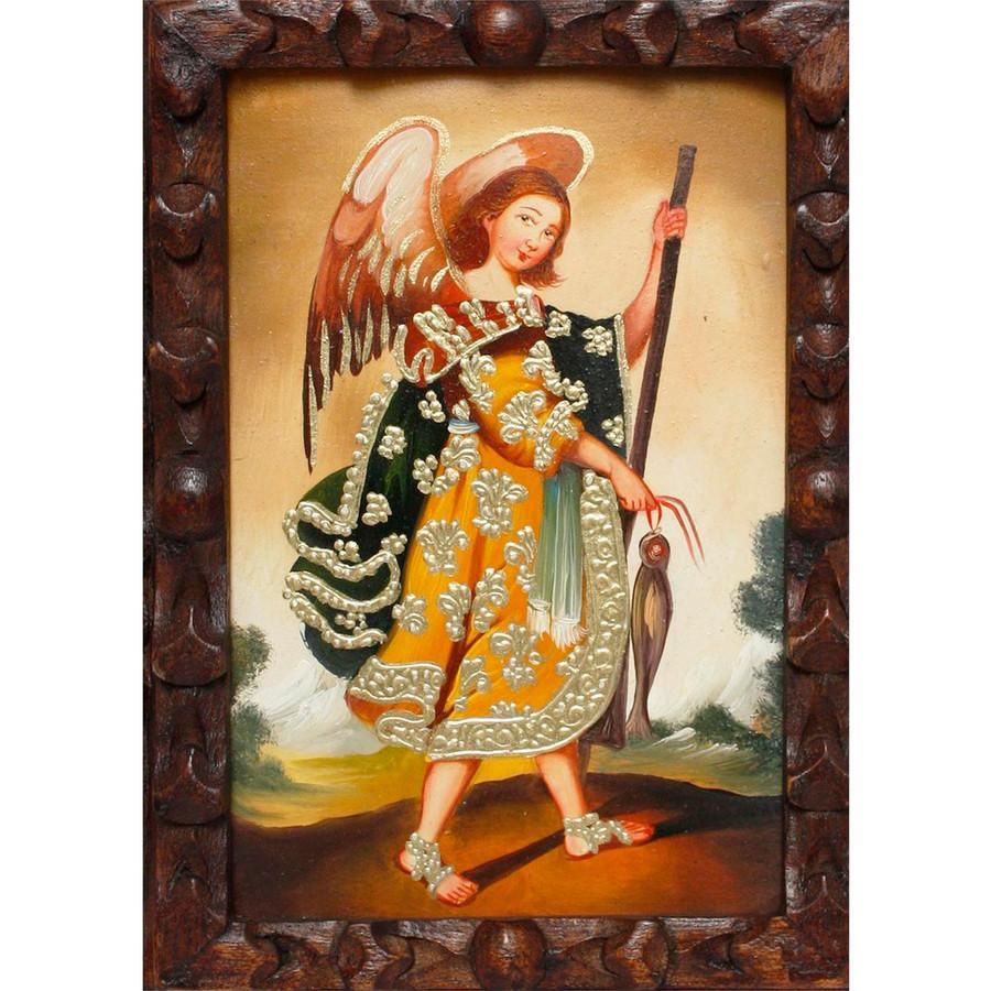 "Archangel Raphael Original Art Framed Oil Painting 10""x 8"" (86-014-02362)"