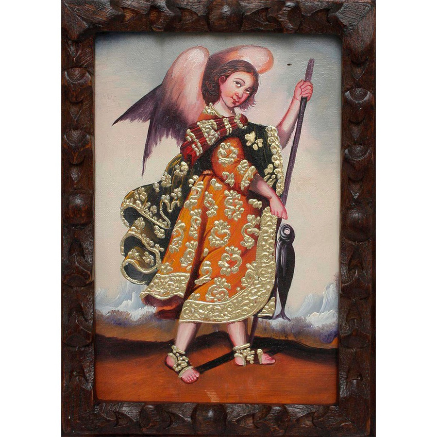 "Archangel Raphael Original Art Framed Oil Painting 10""x 8"" (86-014-02373)"