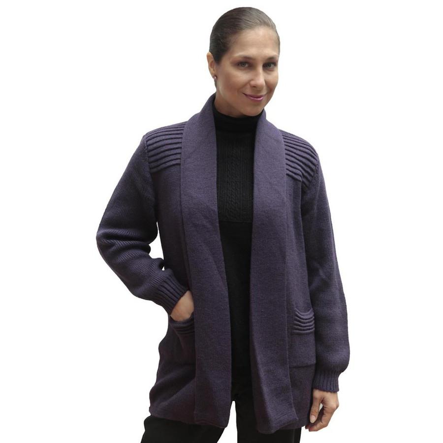 Women's Alpaca Wool Coat Sz XL Purple