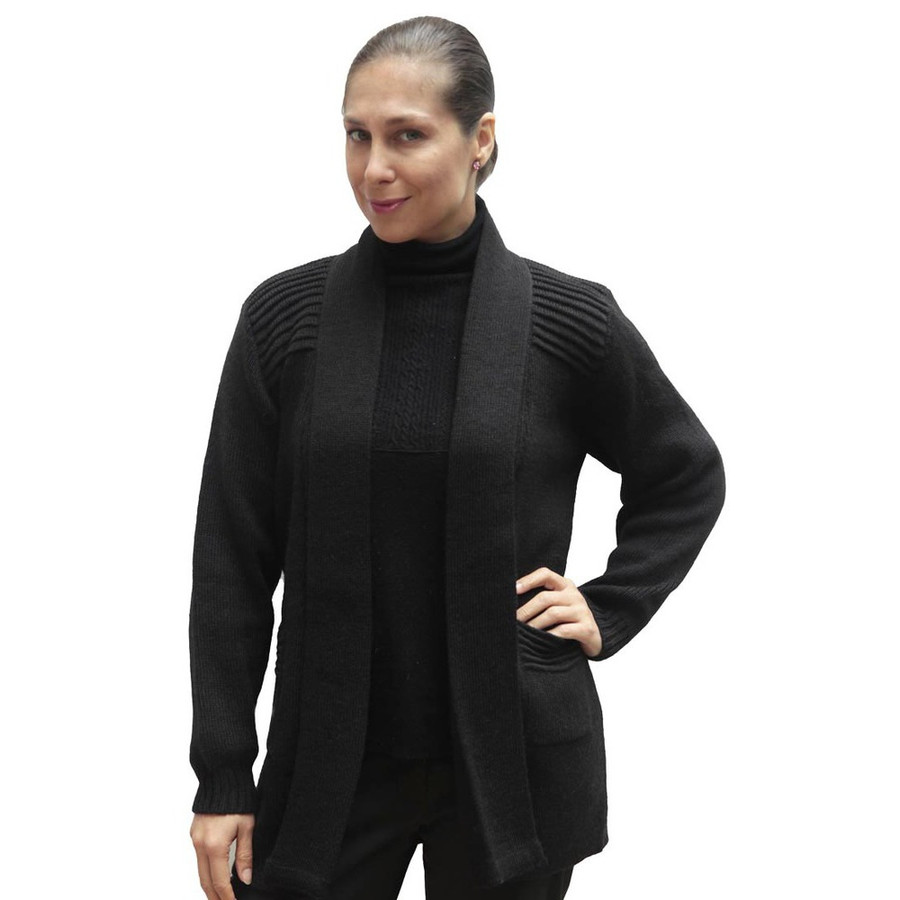 Women's Alpaca Wool Coat Sz L Black