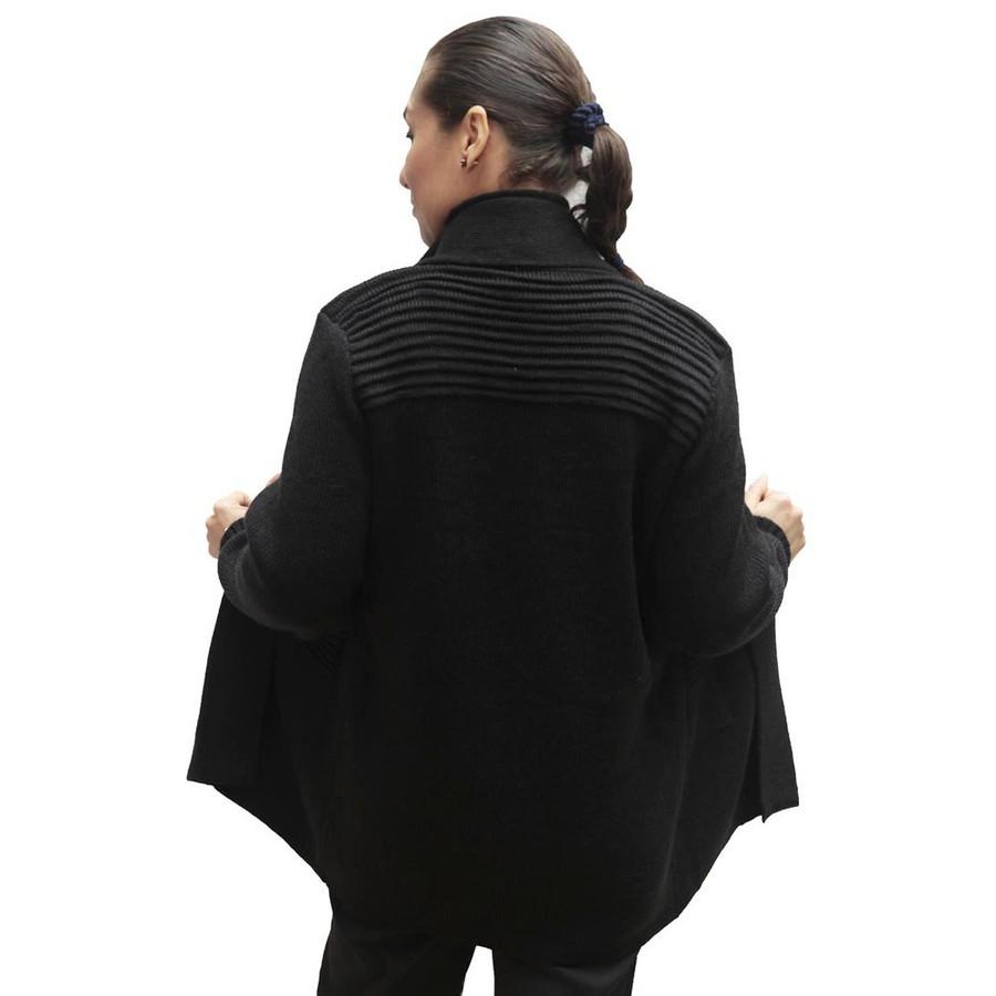 Women's Alpaca Wool Coat Sz L Black (11H-033-500L)