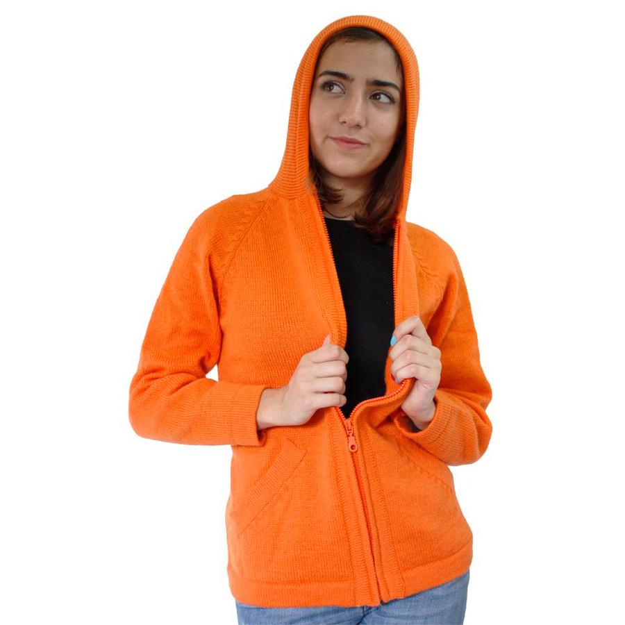 Hooded Alpaca Wool Jacket SZ S Orange (14F-004-420S)