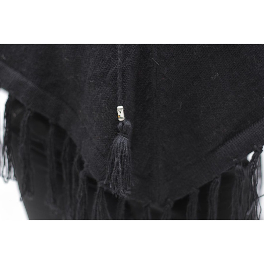 Womens Hooded Superfine Alpaca Wool Poncho Black One Sz (32K-033-500)