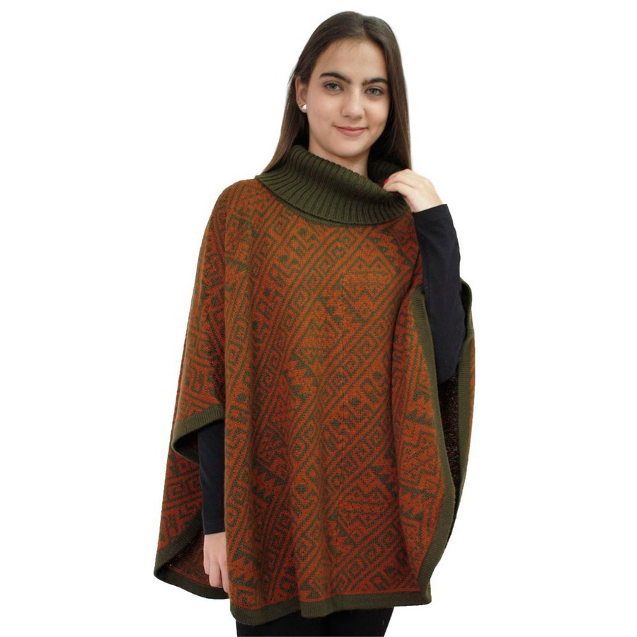 Alpaca Wool Turtleneck Knit Poncho One Size Copper & Leaf Green (32U-064-016)