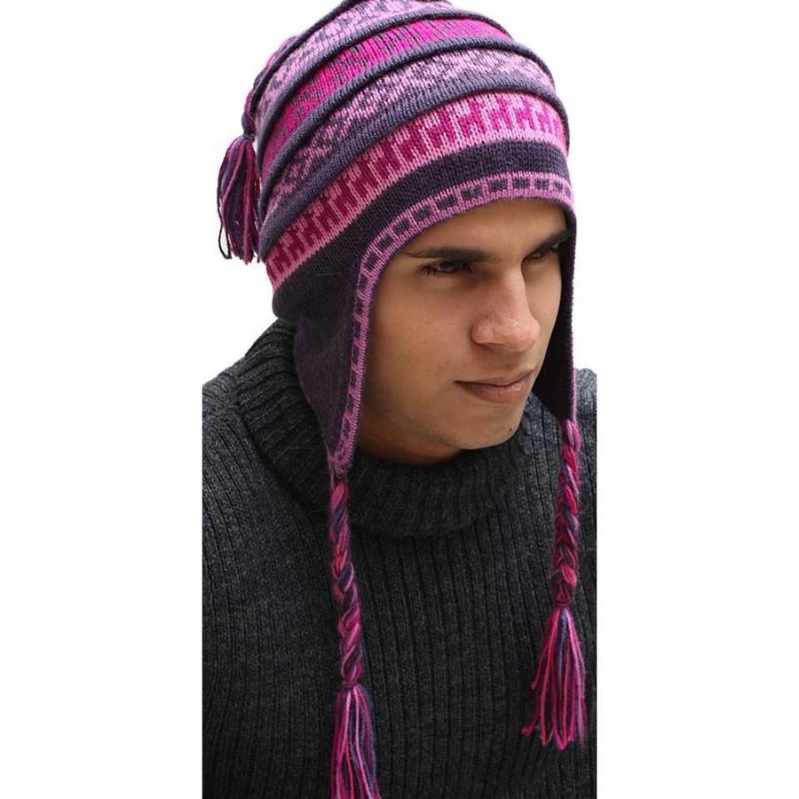 Superfine 100% Alpaca Wool Handmade Intarsia Chullo Ski Hat Beanie Aviator Winter