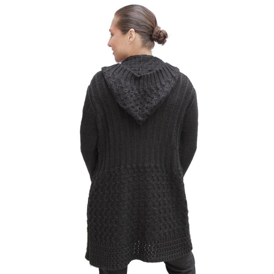 Womens Superfine Alpaca Wool Hooded Coat Size M Black (11C-033-500)