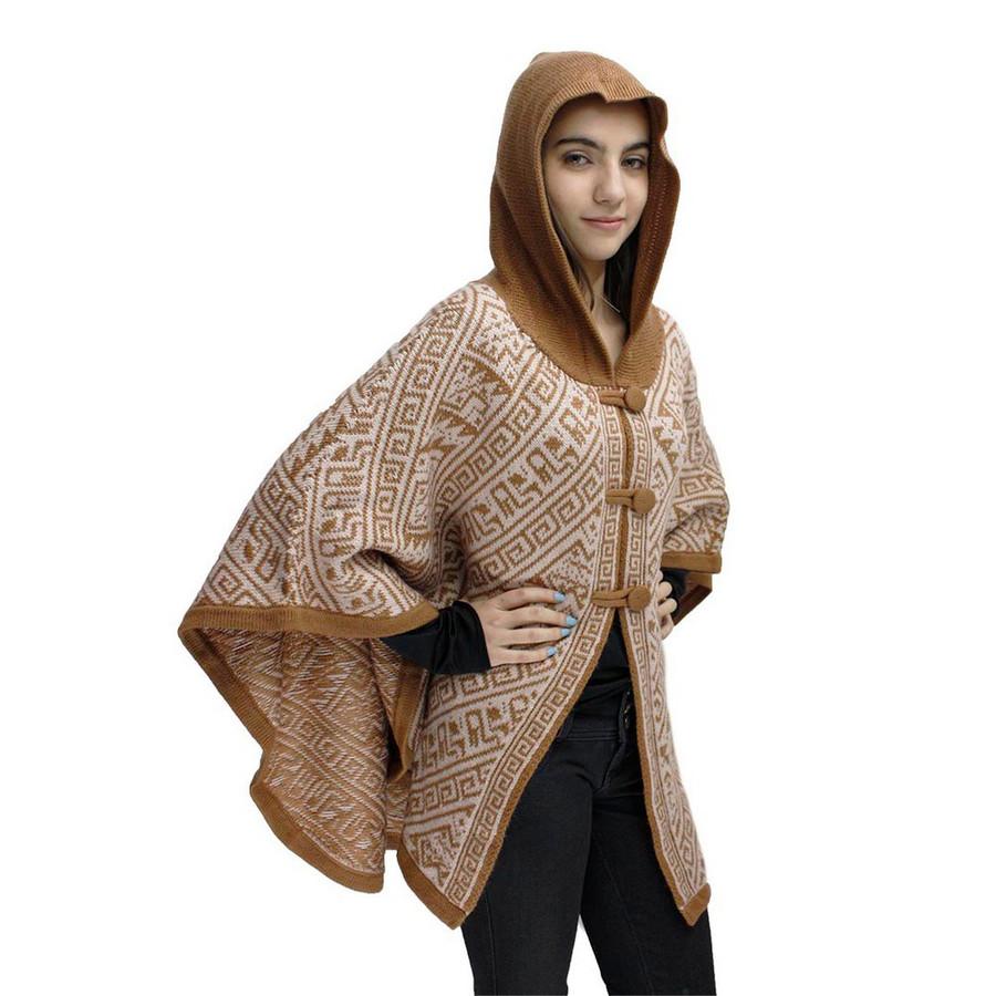 Hooded Alpaca Wool Womens Knit Cape One Size Camel & Beige (17K-012-001)