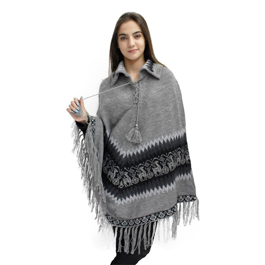 Little Llamas Alpaca Wool Knit Long Poncho With Collar One Size Soft Gray (32W-031-003)