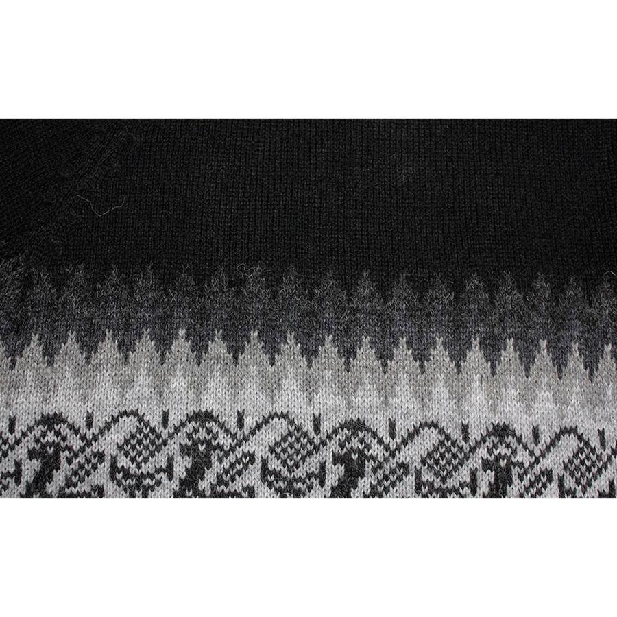 Little Llamas Alpaca Wool Knit Long Poncho With Collar One Size Black (32W-033-003)