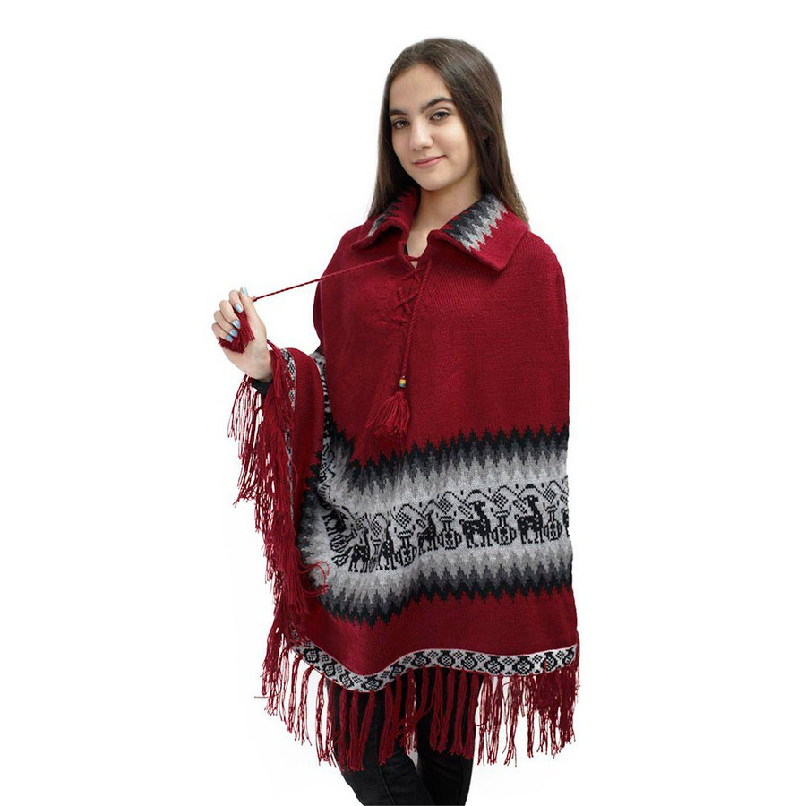 Little Llamas Alpaca Wool Knit Long Poncho With Collar One Size Red (32W-035-003)