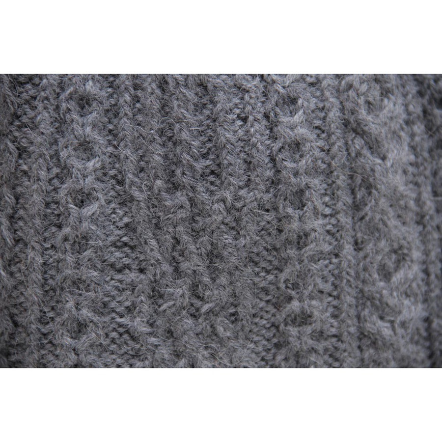 Chunky Superfine Handknitted Alpaca Scarf Gray (06-003-12100)