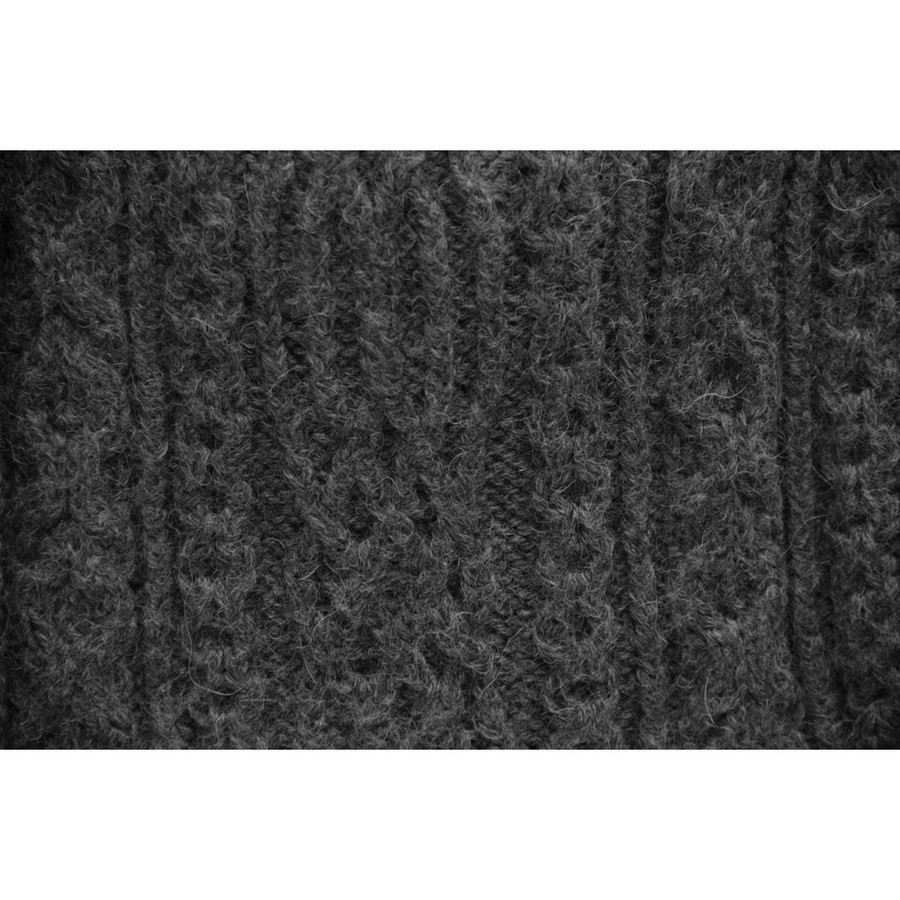 Chunky Superfine Handknitted Alpaca Scarf Charcoal Gray (06-040-12101)