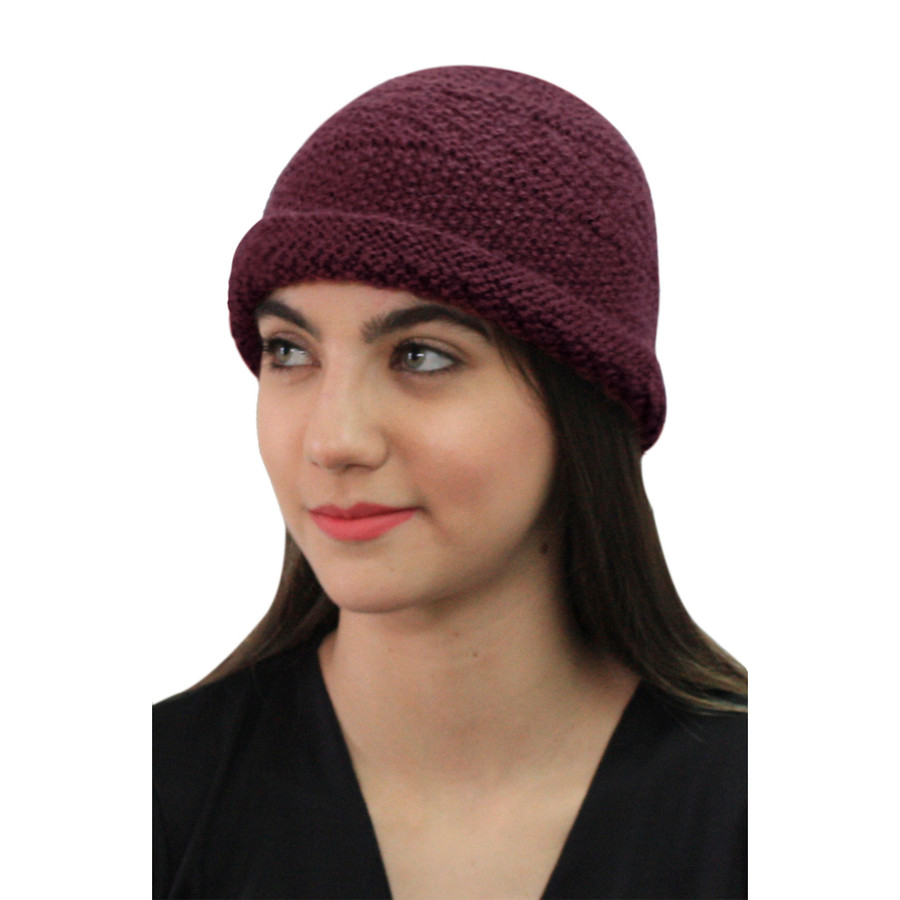 Superfine Hand Knitted Alpaca Wool Hat Burgundy (65M-015-843)
