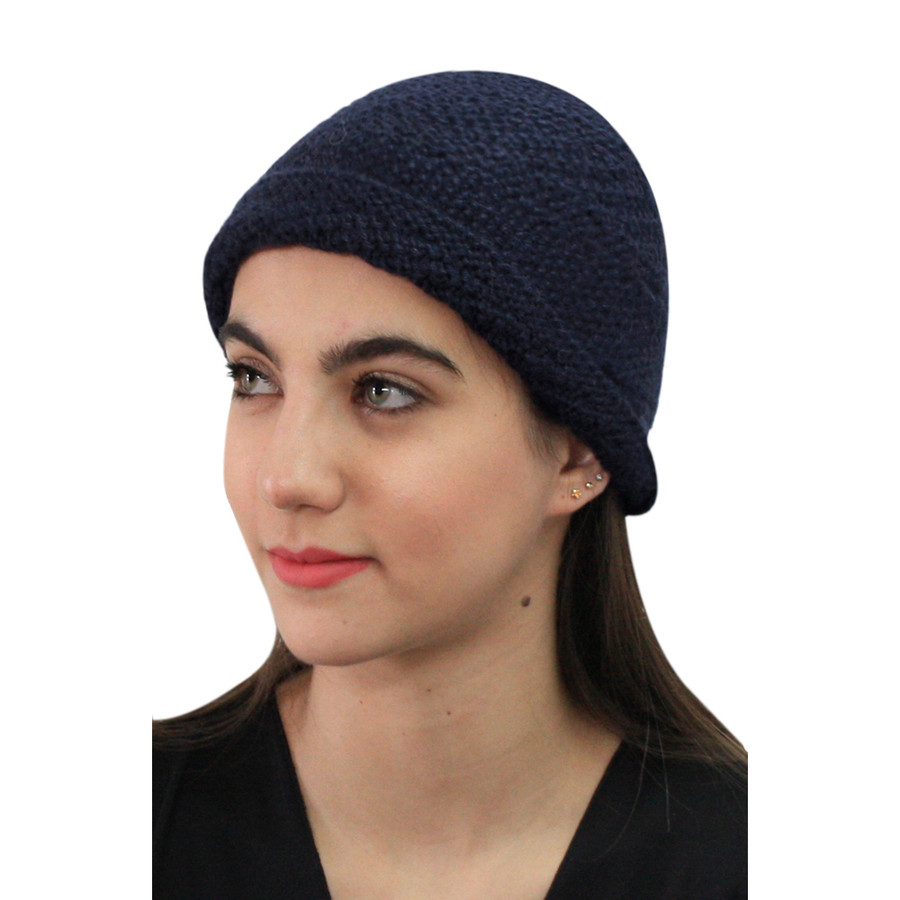 Superfine Hand Knitted Alpaca Wool Hat Navy Blue (65M-019-838)
