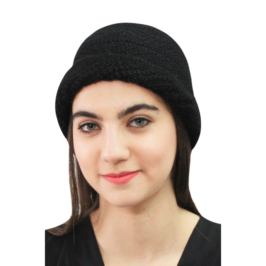 Superfine Hand Knitted Alpaca Wool Hat Black (65M-033-500)