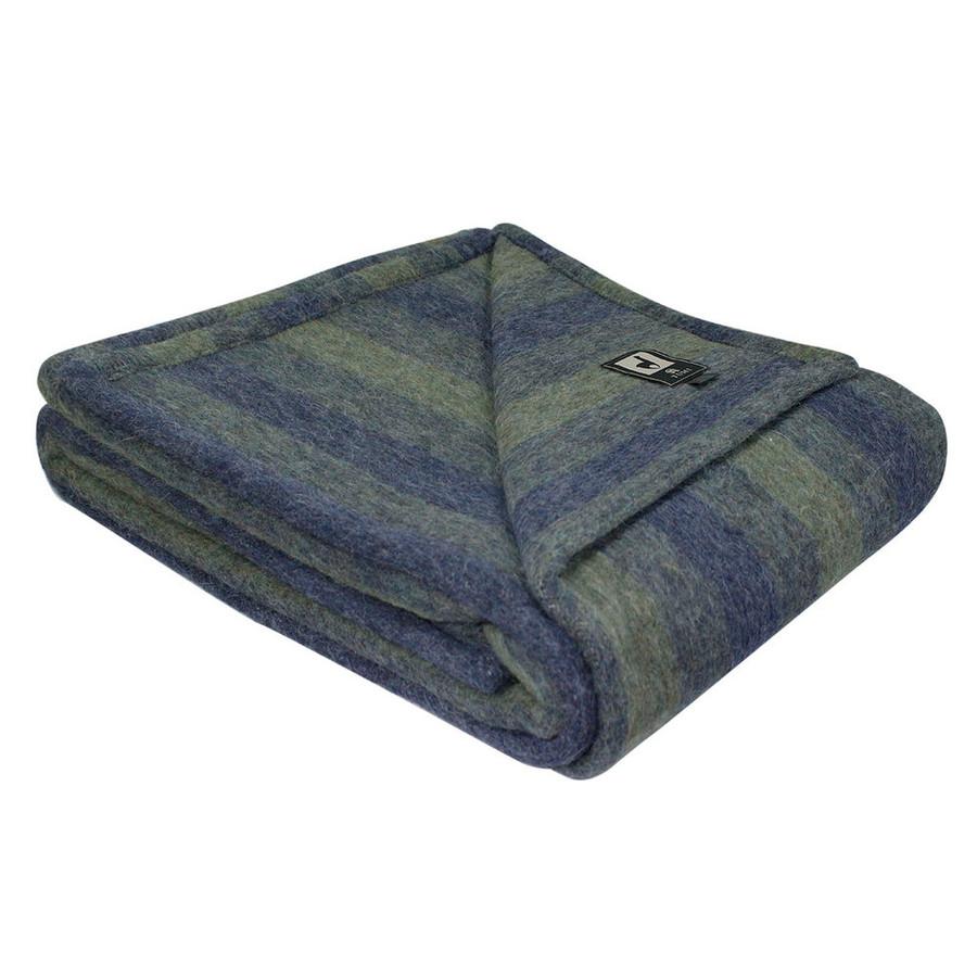 Woven Alpaca Merino Wool Striped Bed Blanket Twin Size