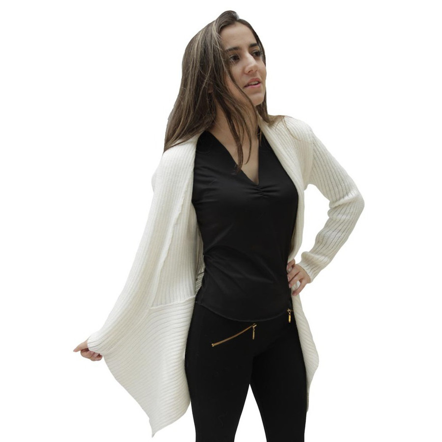 Women's Alpaca Wool Coat SZ M Ivory (11L-013-201M)