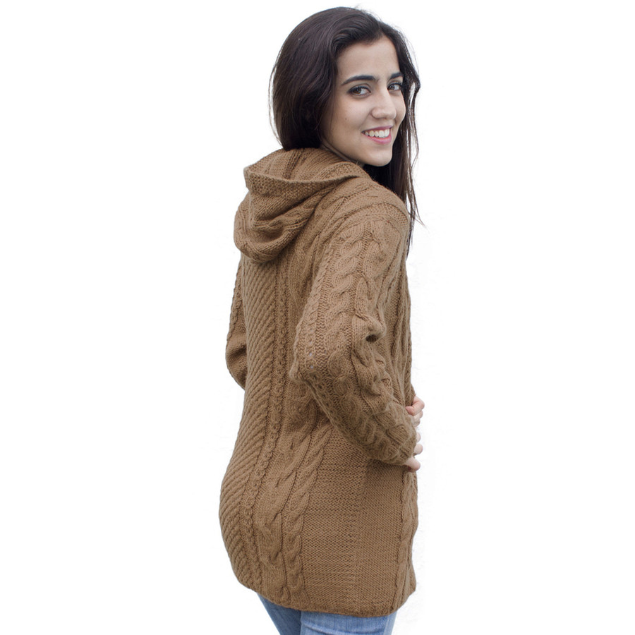 Womens Superfine Alpaca Wool Hand Knitted Hooded Cable Jacket Size M Camel (14N-012-205M)