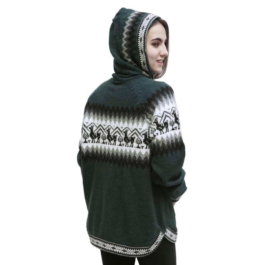 Hooded Alpaca Wool Little Llamas Sweater Leaf Green Size M (15-018-10404)