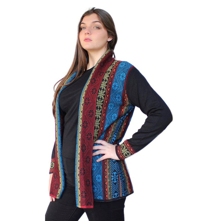 Women's 100% Baby Alpaca Wool Knitted Coat Sweater Yakar Cusco