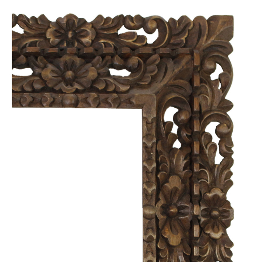 "Cedar Wood Frame Double Box Handcarved Design - 15""H x 13""W (87JA-014-002)"