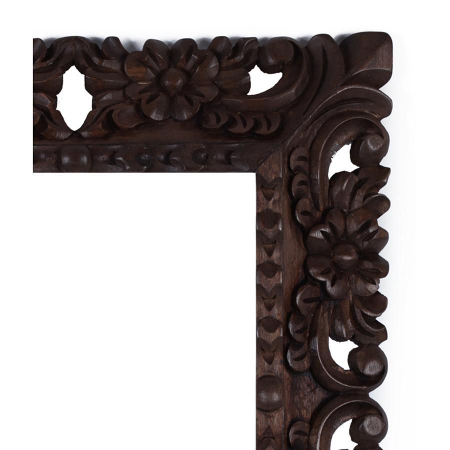 "Cedar Wood Frame Handmade Handcarved Design - 15""H x 13""W (87L-014-003)"