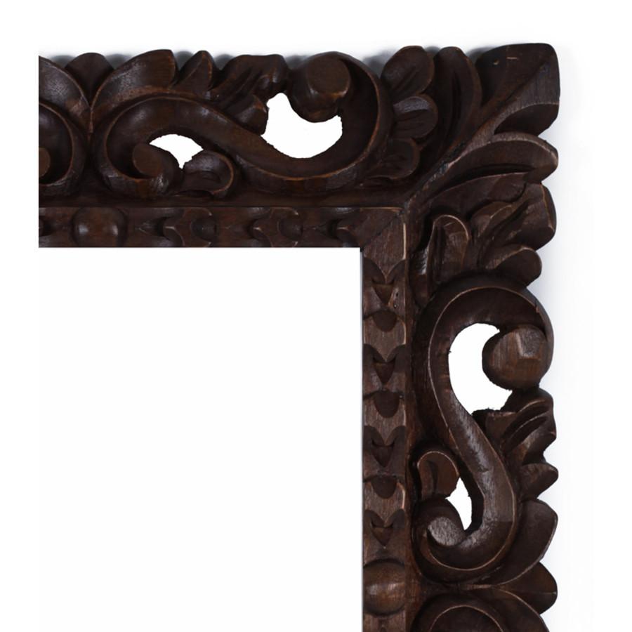 "Cedar Wood Frame Handmade Handcarved Design - 15""H x 13""W (87J-014-003)"