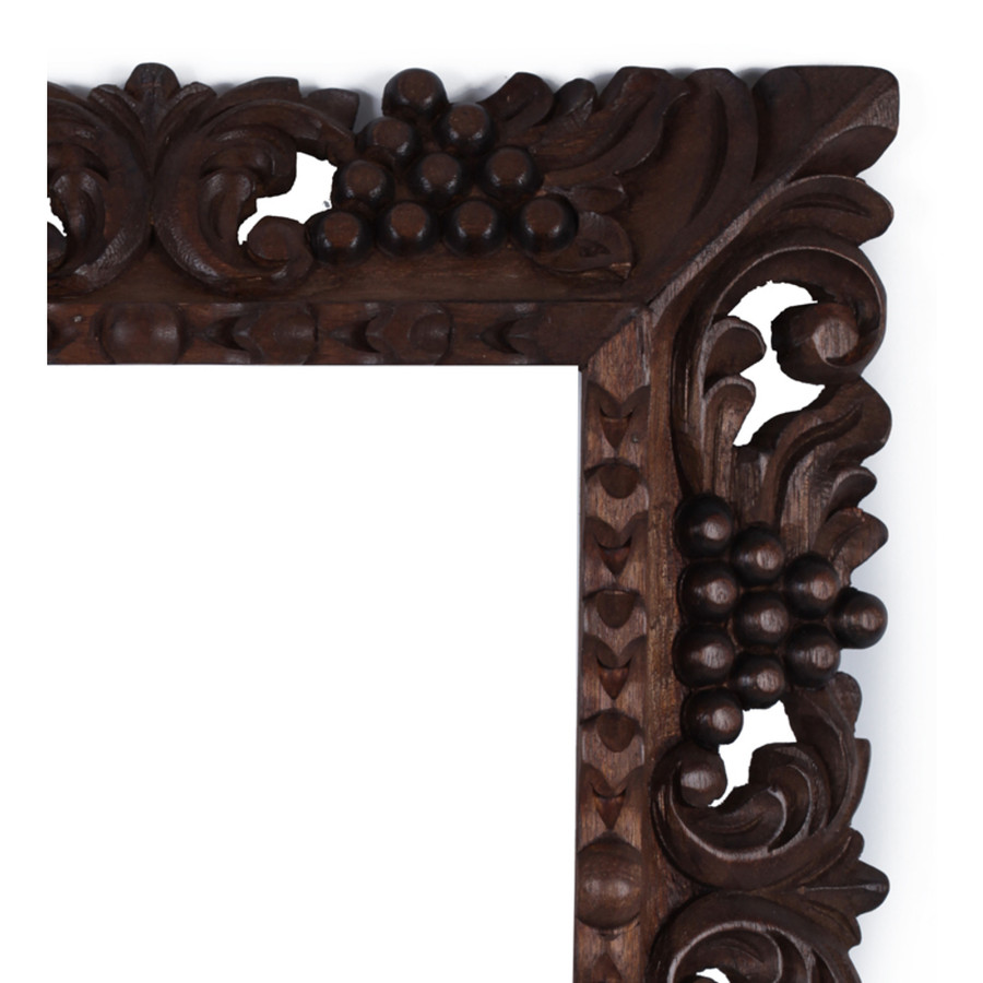 "Cedar Wood Frame Handmade Handcarved Design - 15""H x 13""W (87N-014-003)"