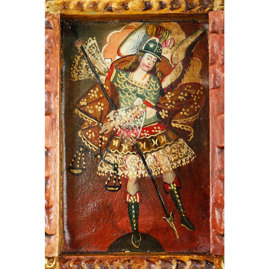 Archangel Michael Colonial Cuzco Peru Handmade Wood Retablo Art Oil Painting (4417)
