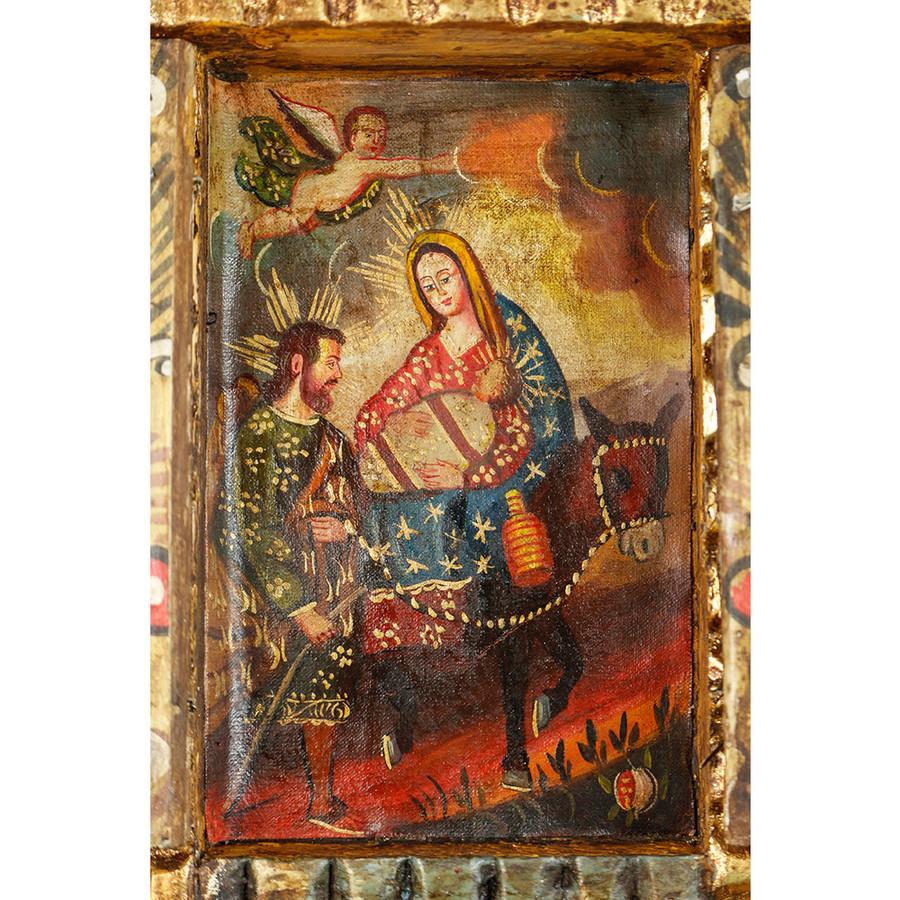 Flight From Egypt Colonial Cuzco Peru Handmade Wood Retablo Art Oil Painting (4414)