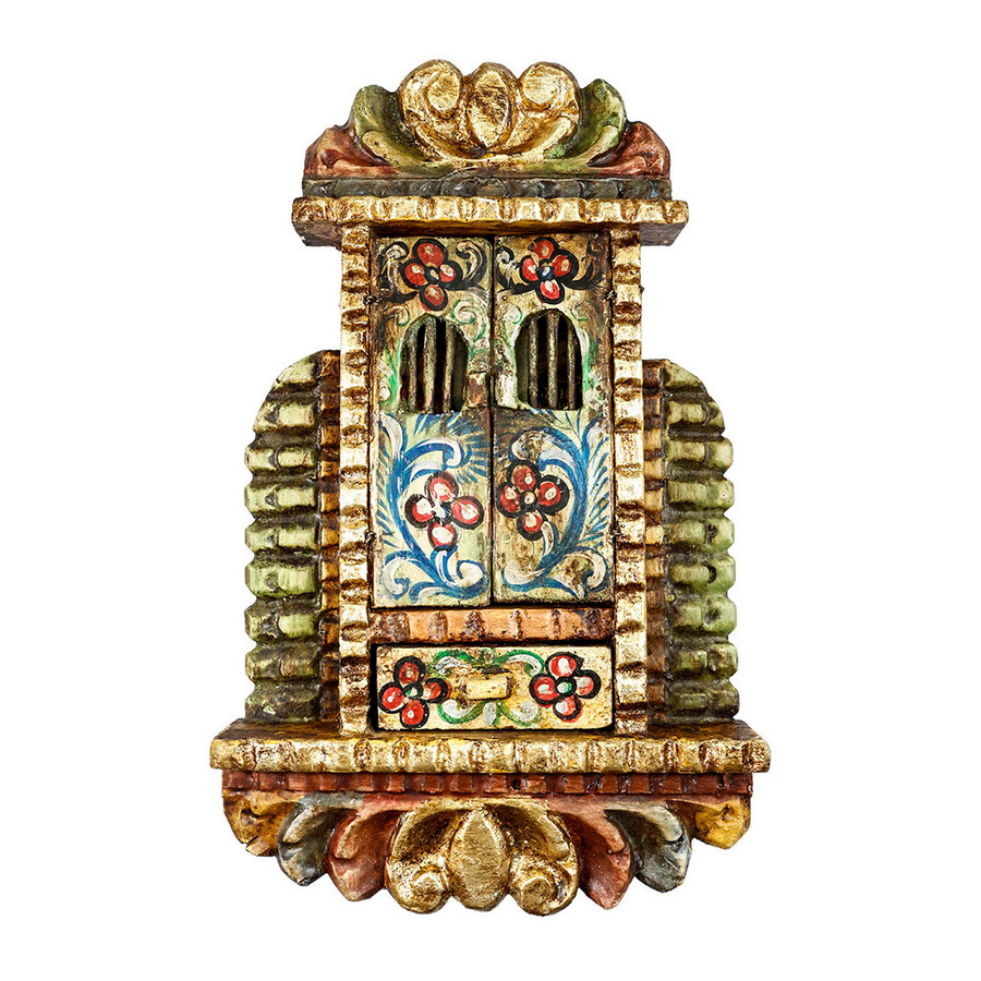 Sacred Family Colonial Cuzco Peru Handmade Wood Retablo Art Framed Oil Painting (4402)