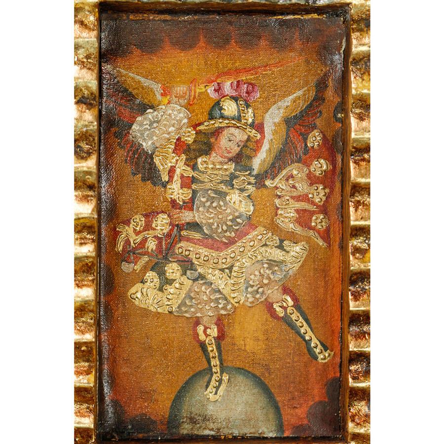 Archangel Michael - Colonial Cuzco Peru Handmade Retablo Folk Art Framed Oil Painting on Canvas Hand Carved Wood Altarpiece