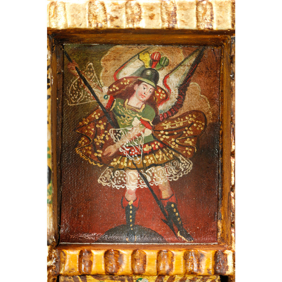 Archangel Michael - Colonial Cuzco Peru Handmade Retablo Folk Art Framed Oil Painting on Canvas Hand Carved Wood Altarpiece 04484
