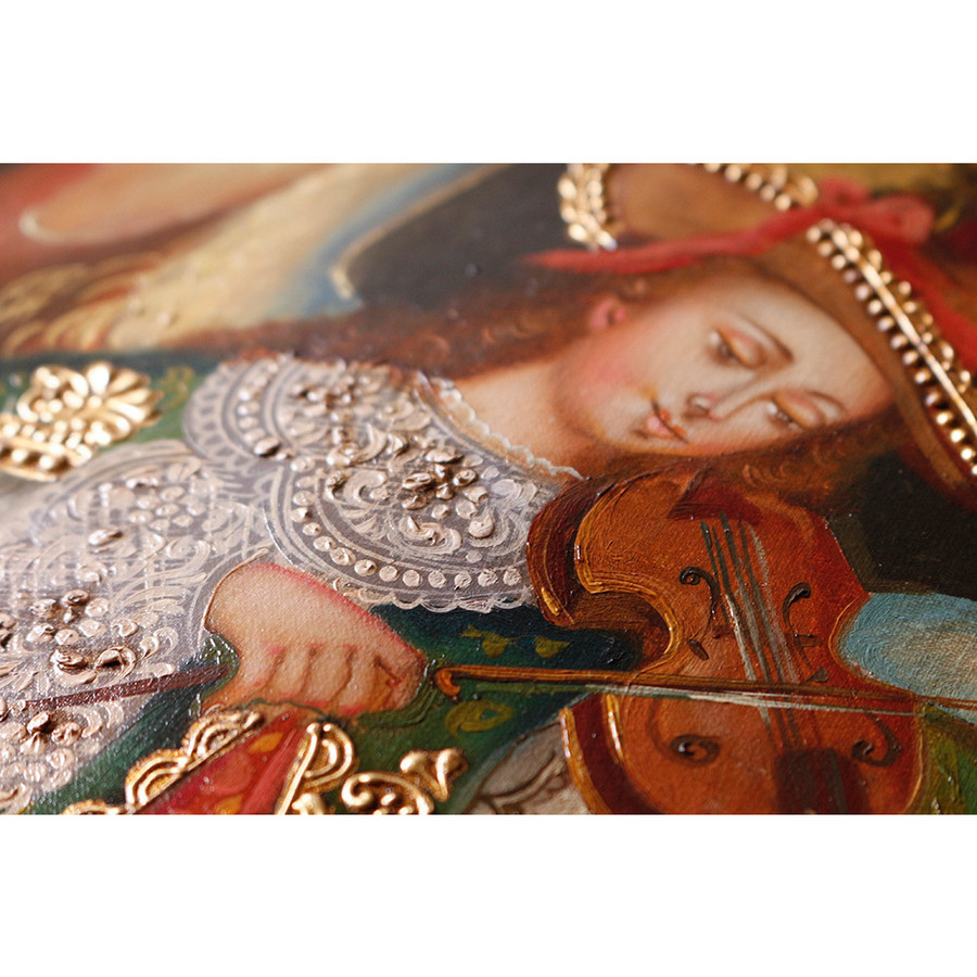 "Musicial Archangel Original Colonial Cuzco Peru Folk Art Oil Painting On Canvas 16"" x 12"" (30-100-07338)"