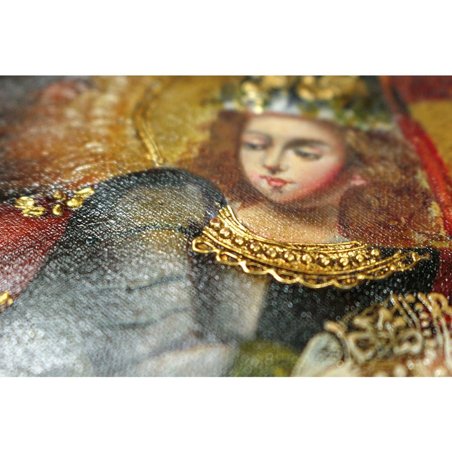 "Archangel Michael Original Colonial Cuzco Peru Folk Art Oil Painting On Canvas 10"" x 8"" (30-100-07217)"