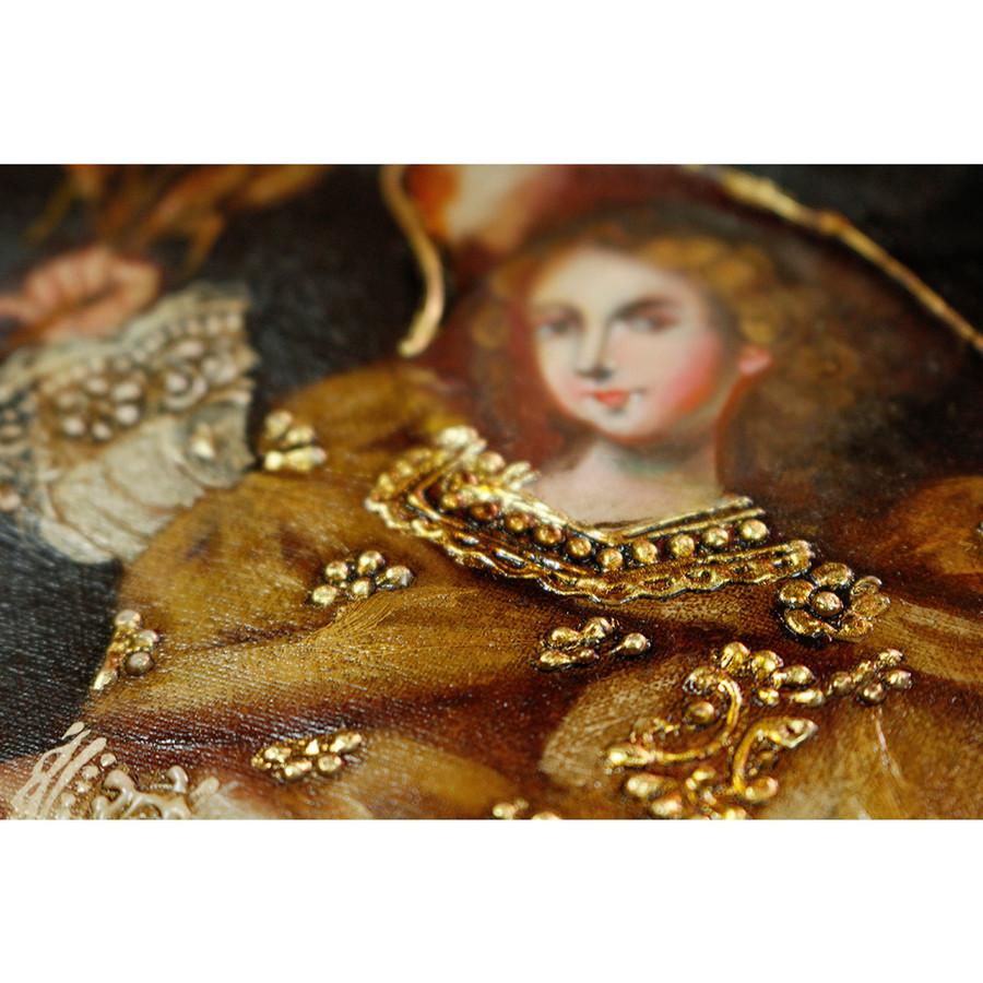 """Archangel Gabriel Original Colonial Cuzco Peru Folk Art Oil Painting On Canvas 10"""" x 8"""" (30-100-07226)"""