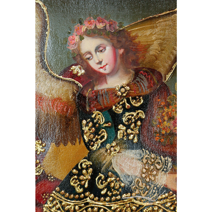 "Archangel Barachiel Original Colonial Cuzco Peru Folk Art Oil Painting On Canvas 10"" x 8"" (30-100-07257)"
