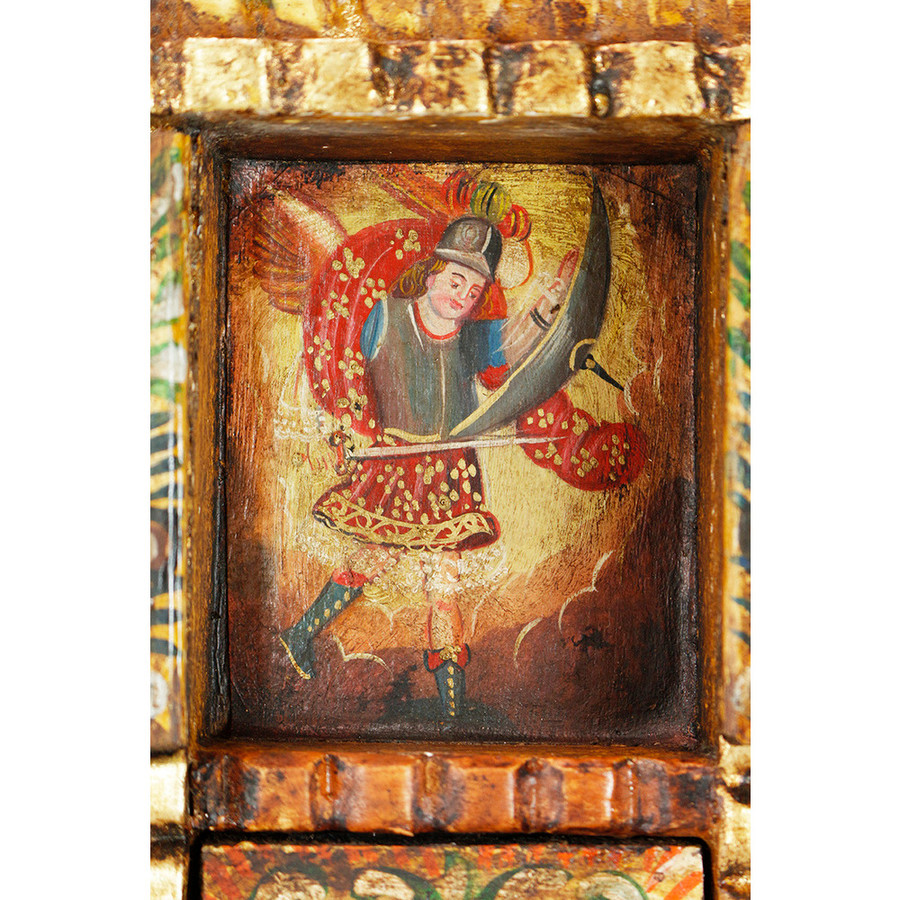 Archangel Michael Colonial Peru Handmade Retablo Religious Handcarved Altarpiece (71-100-04530)