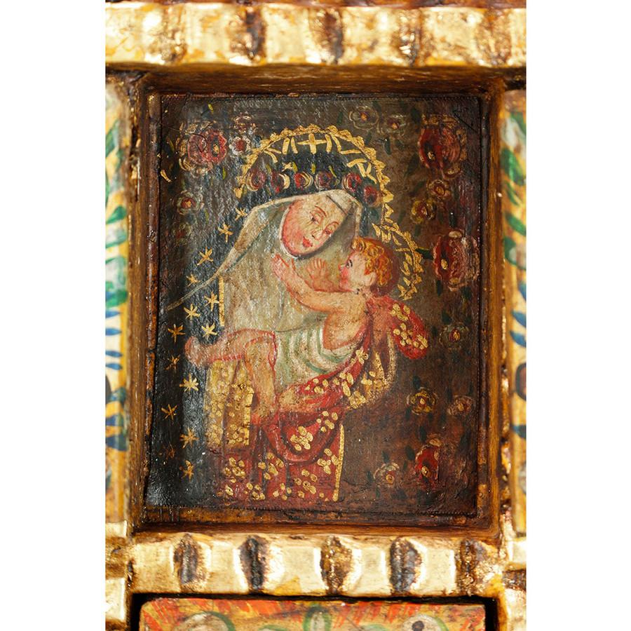 Saint Rose Colonial Peru Handmade Retablo Religious Handcarved Altarpiece (71-100-04532)