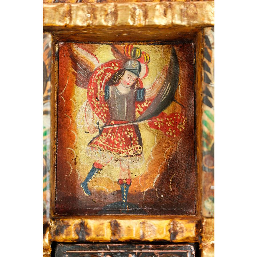 Archangel Michael Colonial Peru Handmade Retablo Religious Handcarved Altarpiece (71-100-04534)